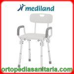 Sedia per doccia con schienale e braccioli regolabile in altezza Mediland 855991