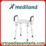 Sedia per doccia con braccioli senza schienale regolabile in altezza Mediland 855990