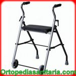 Deambulatore pieghevole 2 ruote fisse 2 puntali e sedile Mediland